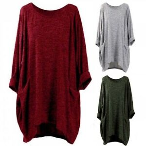 Sleeve-Batwing-Blouse-Jumper-Tops-Loose-Solid-Asymmetrical-Casual-Shirt-Women-039-s