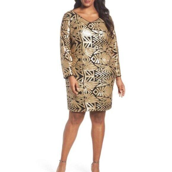 Marina Women\'s Gold Black Sequin Dress 22 2x Plus Size Sheath Dress