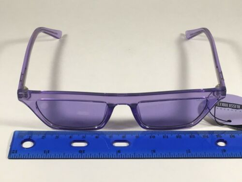 Quay Finesse Sunglasses Alissa Violet Small Square Purple Clear Frame and Lens