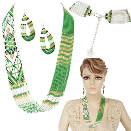NATIVE STYLE ETHNIC GREEN BEADED HANDCRAFTED TURTLE  NECKLACE EARRINGS SET