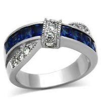 Stainless Steel 316l Women's Montana Blue Sapphire Cz Fashion Ring Size 5-10