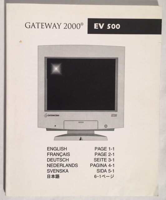 gateway 2000 ev 500 crt display monitor manual user s guide 1997 ebay rh ebay com gateway monitor hx2000 manual gateway lp2207 monitor manual