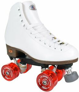 Riedell-111-Fame-Roller-Skates-High-Top-Artistic-Skate-Clear-Red-Wheels