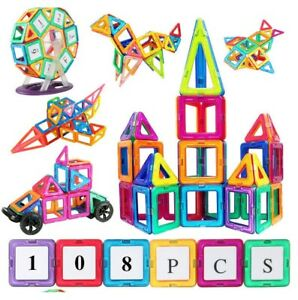 108Pcs Construction Magnetic Tiles Building Connecting Block for Kid Toddler Toy