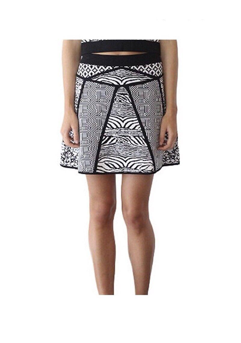 Parker Womens L Geometric Print Knit Flare Skirt C3