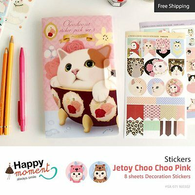 Jetoy Choo Choo Pink Stickers For Diary Day Planner & Organizer 8 sheets