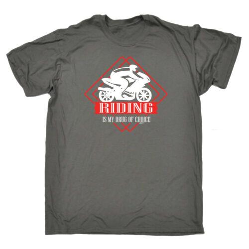 Divertenti Novità T-Shirt UOMO Tee T-Shirt-Moto Riding è la mia droga preferita