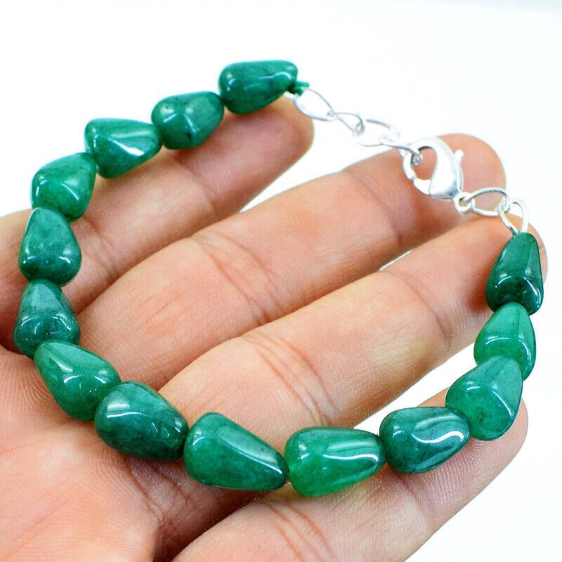 95.00 Cts Earth Mined 7 Inches Long Pear Shape Emerald Beads Bracelet NK 39E47