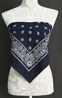 Bandana Crop Top Shirt - Navy Blue Casual Style Clothes Womens Clothing S-m