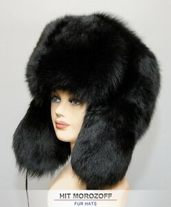 a8aa4fdcb9853 BIG Chapka Ushanka BLACK FOX Fur Russian Hat Pelzmütze Fellmütze ...