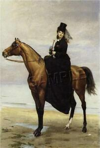 VICTORIAN-Lady-SIDESADDLE-on-Beach-CANVAS-Art-LARGE
