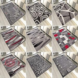 Das Bild Wird Geladen Teppich Grau Weiss Rot Kurzflor Modern Wohnzimmer Flach
