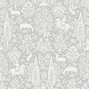 Image is loading Grey-Animal-Print-Wallpaper-Rabbits-Deer-Woodland-Flowers-