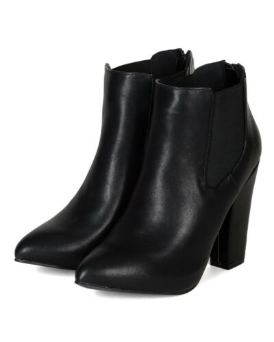 Breckelles Nina-25 New Women Pointy Toe Chunky Heel Chelsea Riding Ankle Bootie