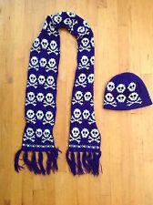 Youth Winter Hat/Scarf Purple/White Skull/ Bones Cross/ Bones  Theme One Size