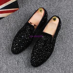 Men-039-s-Glitter-Slip-On-Loafers-Bling-Bling-Rhinestones-Driving-Dress-Formal-Shoes