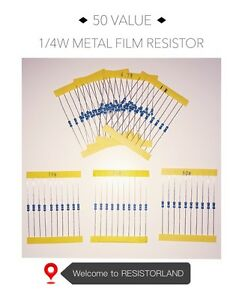 50value-1000pcs-1-4W-Metal-Film-Resistor-Assortment-Kit-SPRING-SALE