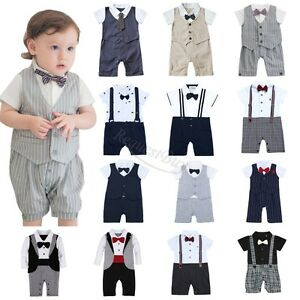 97c7cb425 Baby Boy Wedding Party Tuxedo Suits Bowtie Romper One-Piece Outfit 0 ...
