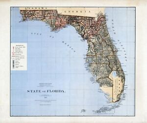 Map State Of Florida.Details About 1876 Department Interior Map State Of Florida Geographical Political 17