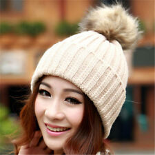 Women Cute Hat Winter Faux Fur Pom Ball Knit Beanie Ski Cap Beret Warm Hat Hot