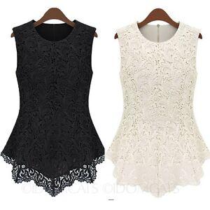 1064d88278f4bc Image is loading Elegant-Shirt-Womens-sleeveless-ladies-Crochet-blouse-Lace-