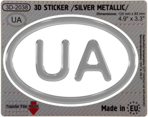UA Ukraine OVAL GEL DOME CAR STICKER Silver metallic Resin Decal 3d Domed Badge