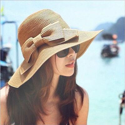 Women's Folding Summer Beach UV Cap Wide Brim Bowknot Floppy Straw Sun Hat Khaki