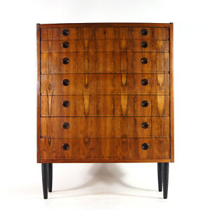 Retro-Vintage-Danish-Tall-Boy-Rosewood-Chest-of-Drawers-1960s-Mid-Century-Modern