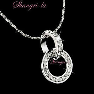 18K White GOLD Plated Double Rings Pendant NECKLACE Gen SWAROVSKI ... 14a643a0ea