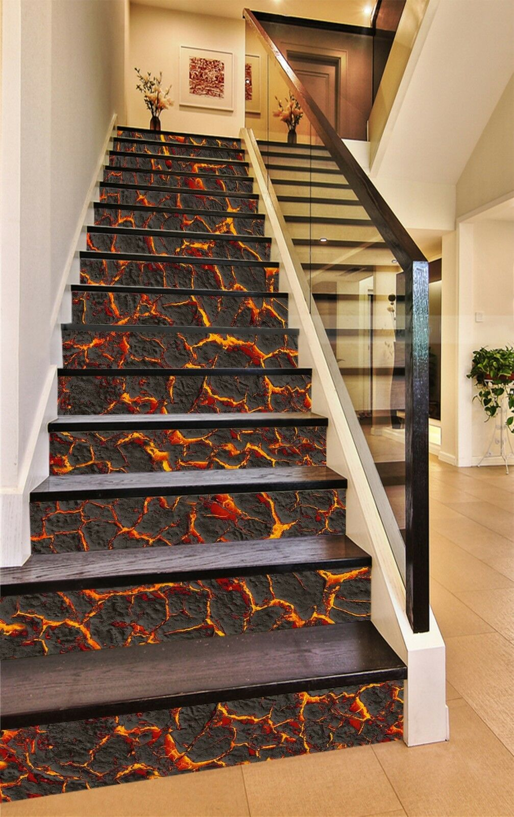 3D Flame Adorn Stair Risers Decoration Photo Mural Vinyl Decal Wallpaper UK