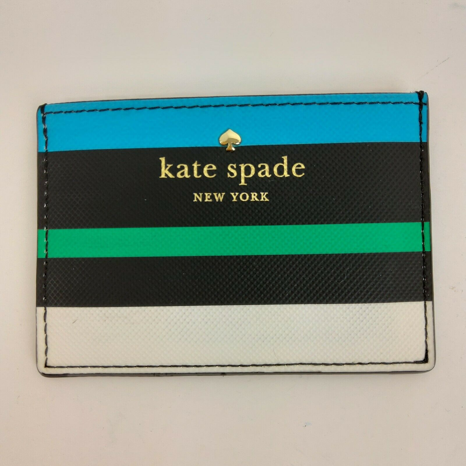 Kate Spade Card Holder Color Rainbow Stripes Navy Pink compact slim 3 slot ID