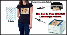 100 x A4 Laser / Inkjet immagine il trasferimento di calore CARTA PER TESSUTI SCURI