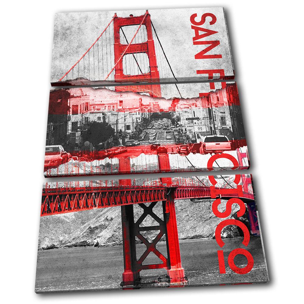 San Francisco oroen Gate City TREBLE TELA parete arte foto foto foto stampa 845a09