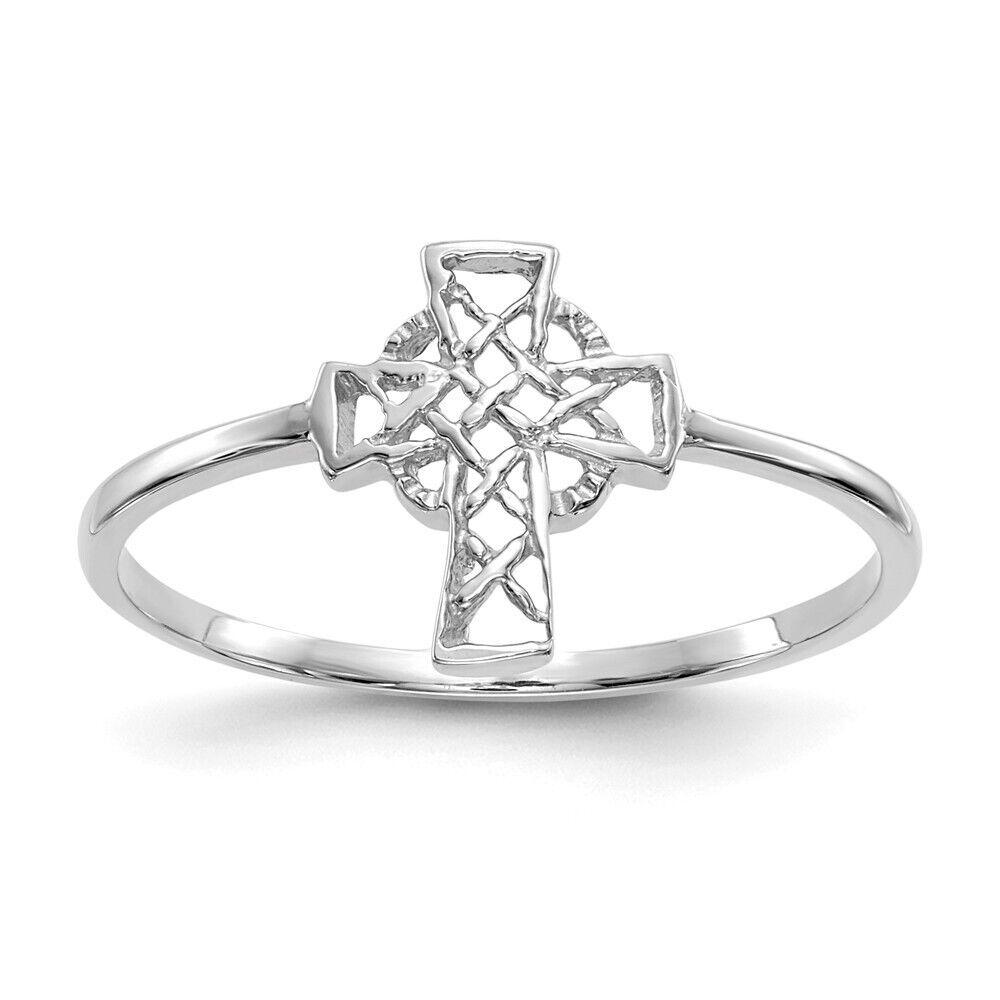 Genuine 14k White gold Polished Celtic Cross Ring  0.99 gr