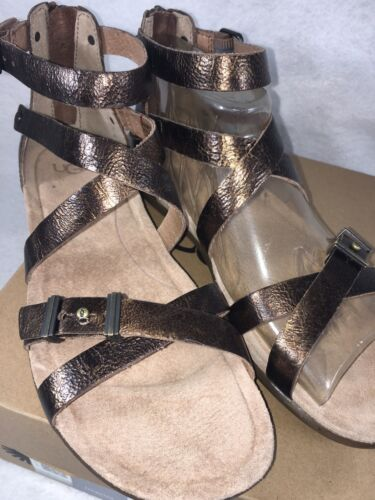 b4802ca5c45 8 of 12 UGG WOMEN S CHERIE GOLD Metallic PONY BROWN LEATHER GLADIATOR  SANDALS 1009851