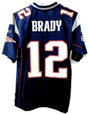 VTG Reebok New England Patriots Tom Brady Jersey Mens Large SEWN Blue 12 GOAT | eBay