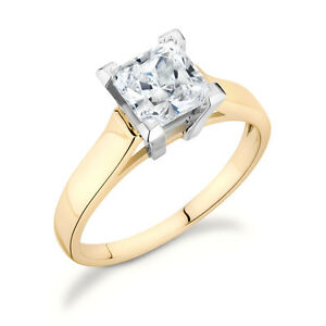 Solitaire Princess Cut Ring with .20CT diamond set in 14k Yellow Gold SP-20Y