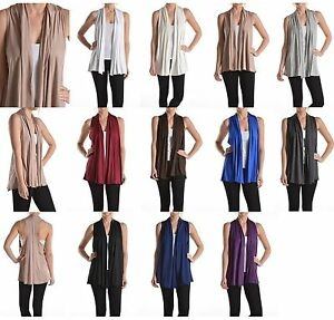 c52db813a77fc Image is loading USA-Women-Sleeveless-Summer-Shawl-Collar-Open-Front-