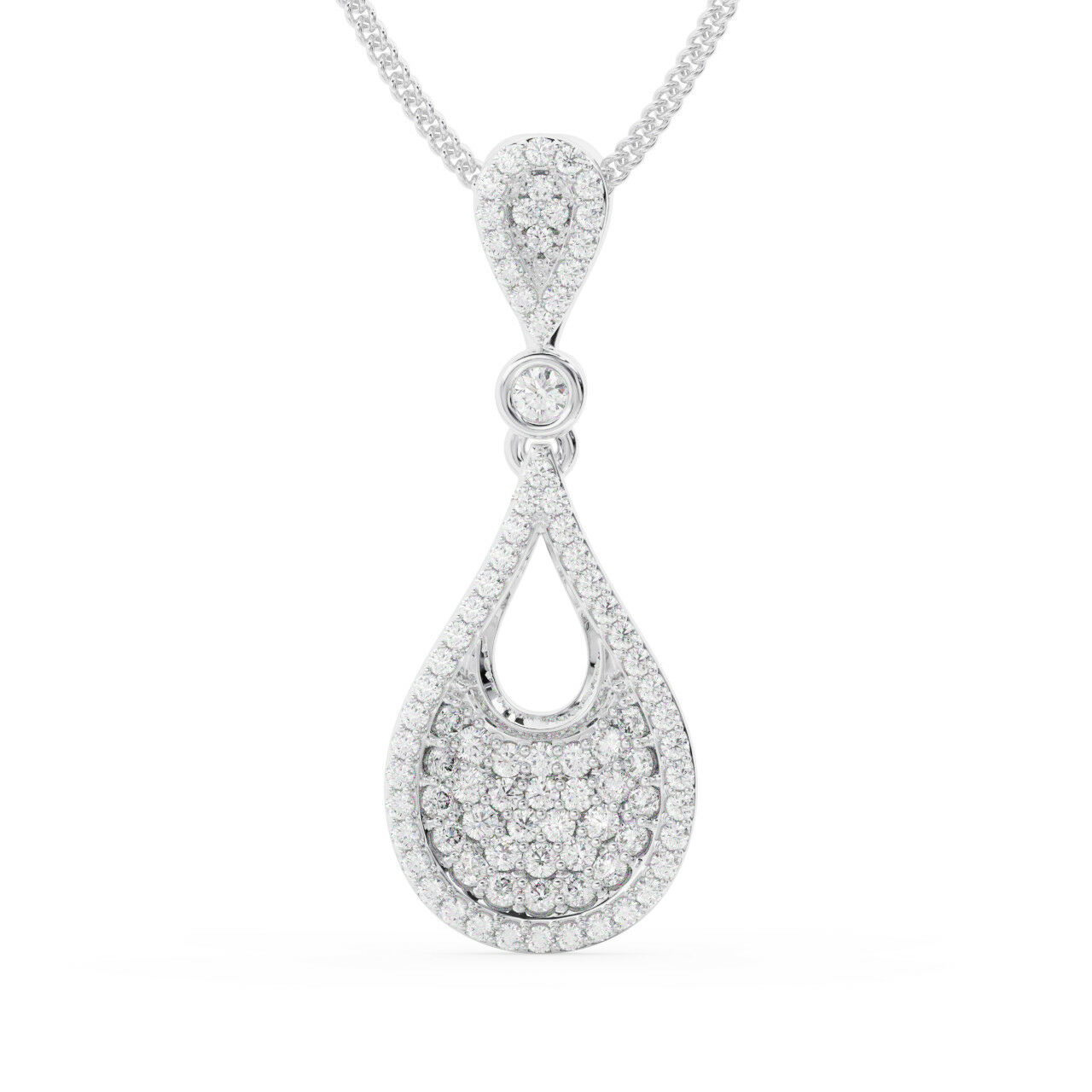 0.50CT Pave Set Round Diamonds Drop Pendant Available in 18K gold
