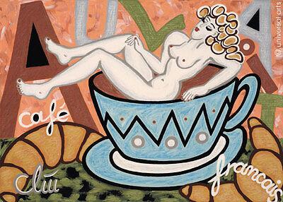 JACQUELINE DITT - Café Au Lait  A2 grosser DRUCK n.Gemälde Kaffee Bilder Akt