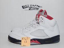 """2012 NIKE AIR JORDAN RETRO V 5 """"FIRE RED"""" WHITE BLACK SHOES 136027 100 SIZE 13"""