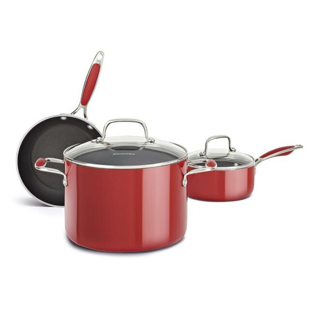 kitchenaid pots and pans nonstick cookware new kitchenaid piece aluminum nonstick cookware pots pans set red 5piece and