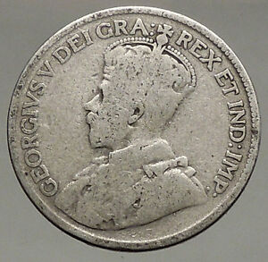 1917-CANADA-UK-King-George-V-Authentic-Original-SILVER-25-CENTS-Coin-i56842