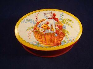 Très Jolie Ancienne Boîte Tôle Fer Panier Fleur Chaton Chat Années 30