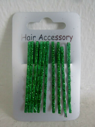 10 Glitter Hair Clips Kirby Grip Slide Bobby Pin Neon Pastel Grips Clip Head S9