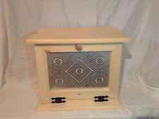 Wooden Bread Box with punched tin decor on the front