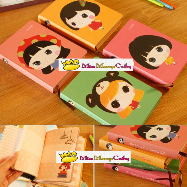 """""""Cute Doll"""" 1pc Journal Diary Cute Hard Cover Planner Pocket Girl Notebook Memo"""