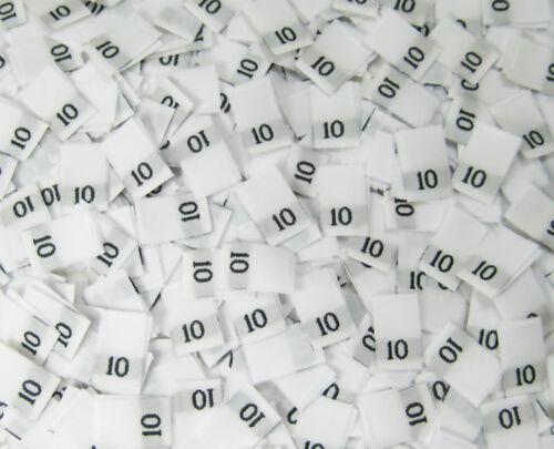 SIZE 10 25 PCS WHITE WOMEN TAFFETA WOVEN CLOTHING NUMBER SIZE TAG LABELS TEN