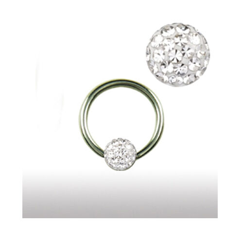 1,6mm Piercing Ring 4mm Multistrass rundum Kristall Kugel Intim Ohr Lippen