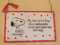 Snoopy Bathroom Sign - My Aim Is To Keep This Bathroom Clean